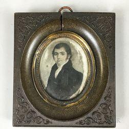Framed Portrait Miniature En Grisaille of a Man