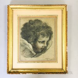 Early Framed Charcoal Sketch of a Putto