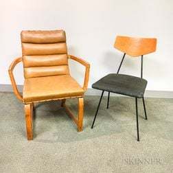 Two Mid-Century Modern Upholstered Chairs.     Estimate $20-200
