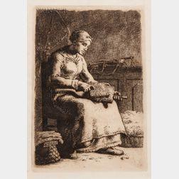 Jean-François Millet (French, 1814-1875)      La cardeuse