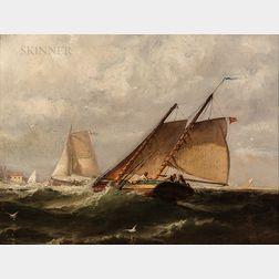 Edward Moran (American, 1829-1901)      A Stiff Breeze off Havre