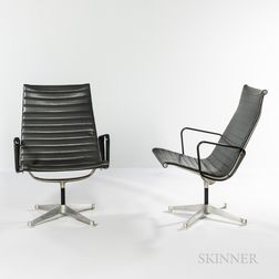 Two Ray (1912-1988) and Charles Eames (1907-1978) for Herman Miller Aluminum Group Lounge Chairs