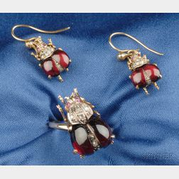 14kt Gold, Garnet and Diamond Insect Suite