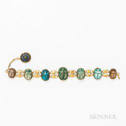 High-karat Gold and Faience Scarab Bracelet