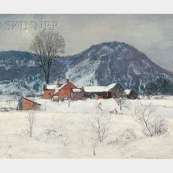 Robert Strong Woodward  (American, 1885-1957)      Red Farm in Winter