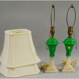 Two Sandwich Glass Pressed Tulip Pattern Table Lamps