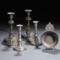 Two Pairs of Pewter Candlesticks and a Porringer