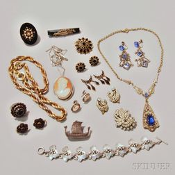 Group of Mostly Victorian Costume and Gold-filled Jewelry