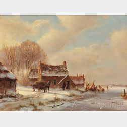 Attributed to Jacobus van der Stok (Dutch, 1794-1864)      Winter Landscape with Thatched Cottages by a River