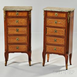 Pair of Louis XVI-style Fruitwood Marble-top Commodes