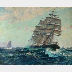 Charles Robert Patterson (American, 1878-1958)      Charging Through Rough Seas