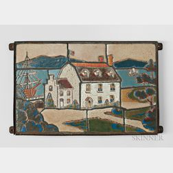 Arts and Crafts Scenic Architectural Tile Frieze Possibly Paul Revere Pottery