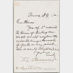 Twain, Mark (1835-1910) Autograph Note Signed, Elmira, New York, [no date].