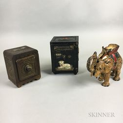 Two Cast Iron Safe-form Still Banks and an Elephant Mechanical Bank