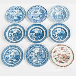 Nine English Transferware Plates