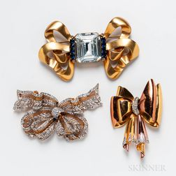 Three Costume Rhinestone Bow Brooches