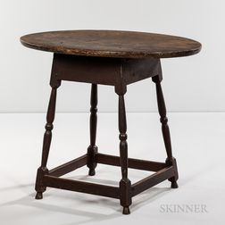 Turned Maple and Pine Oval-top Tea Table