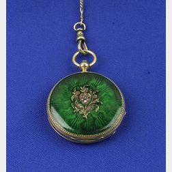Antique 18kt Gold and Enamel Pocket Watch and Chain