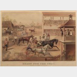 """Currier & Ives, publishers, (American, 1857-1907)  READY FOR THE TROT:  """"BRING UP YOUR HORSES."""""""