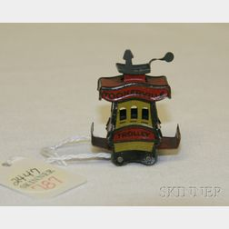Miniature Lithographed Tin Toonerville Trolley