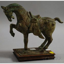 Chinese Patinated Bronze Horse on a Hardwood Base