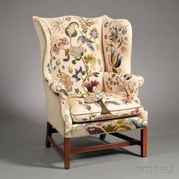 Inlaid Mahogany Crewelwork-upholstered Easy Chair