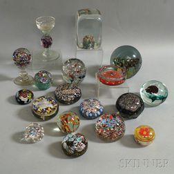 Eighteen Glass Paperweights