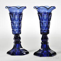 Pair of Dark Blue Pressed Glass Three-printie Block Pattern Vases