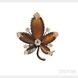 Antique 18kt Gold, Hardstone, and Diamond Pendant/Brooch