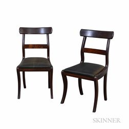 Pair of Classical Mahogany Sabre-leg Side Chairs