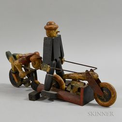 Folk Carved and Painted Bicycles and Riders
