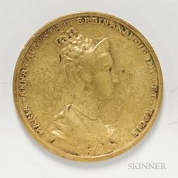 Brass Casting of a Prague Coronation Medal of Ferdinand and Maria Anna Augusta.     Estimate $20-40