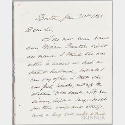 Holmes, Oliver Wendell Sr. (1809-1894) Autograph Letter Signed, 31 January 1883.