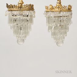 Pair of Bronze-mounted Neoclassical-style Chandeliers