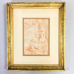 Early Framed Red Chalk Drawing of St. Peter