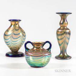 Three Imperial Art Glass Iridescent Vases