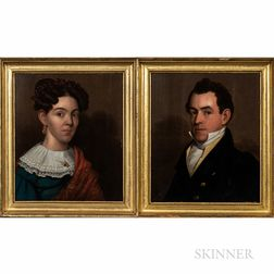 Attributed to John Ritto Penniman (Massachusetts, 1782-1841)      Portraits on Panel of Dr. Lawson Myrick and His Wife
