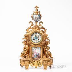 Louis XVI-style Gilt-bronze and Porcelain-mounted Mantel Clock