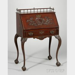 R.J. Horner & Co. Chippendale-style Carved Mahogany Lady's Slant-lid Writing Desk