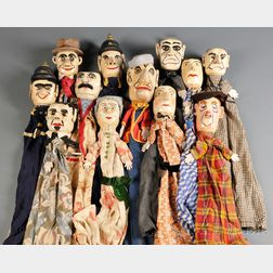Twelve Carved and Painted Punch & Judy Puppets