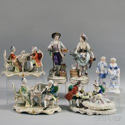 Seven European Porcelain Figures and Figural Groups