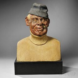 Carved Polychrome Figural Bust