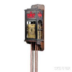 Signed Japanese Single Foliot Kake Dokei or Lantern Clock and Wall Bracket