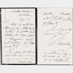 Bradley, Edward [aka Cuthbert M. Bede] (1827-1889) Autograph Letter Signed.