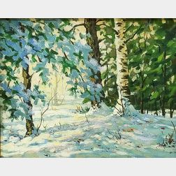 American School, 20th Century    Birch Trees in Snow