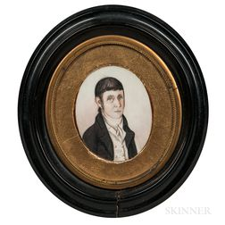 John Brewster Jr. (Connecticut/Maine, 1766-1854)      Miniature Portrait of a Gentleman