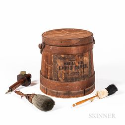 Shaker Applesauce Covered Pail with Two Brushes and a Wood Scribe
