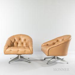 Two Ward Bennett (American, 1917-2003) Leopold Swivel Chairs