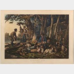 """Nathaniel Currier, publisher (American, 1813-1888)  CAMPING OUT.  """"Some of the Right Sort."""""""