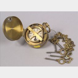 Brass Watchman's Clock
